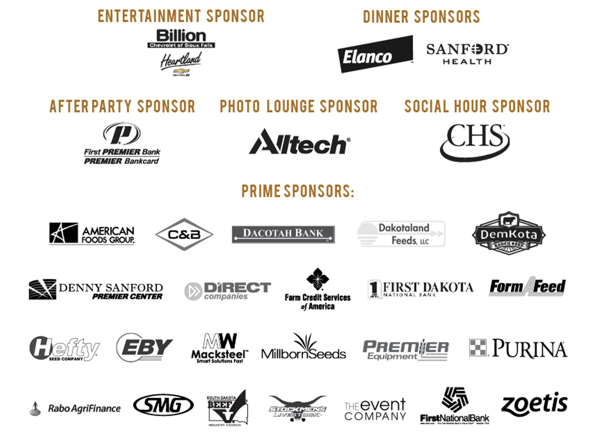 2019 Prime Time Gala Sponsors